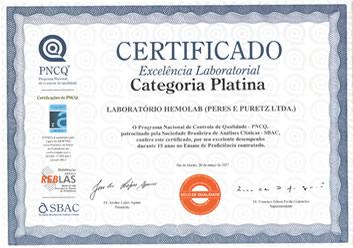 Certificado Platina Em Excelência Laboratorial